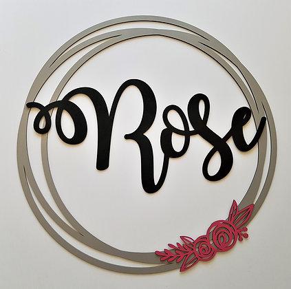 Laser Cut Name - Circle Wreath (72 cm)
