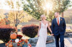 Couple Strolling Autumn Scene