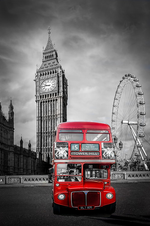 City of London B&W Red Bus