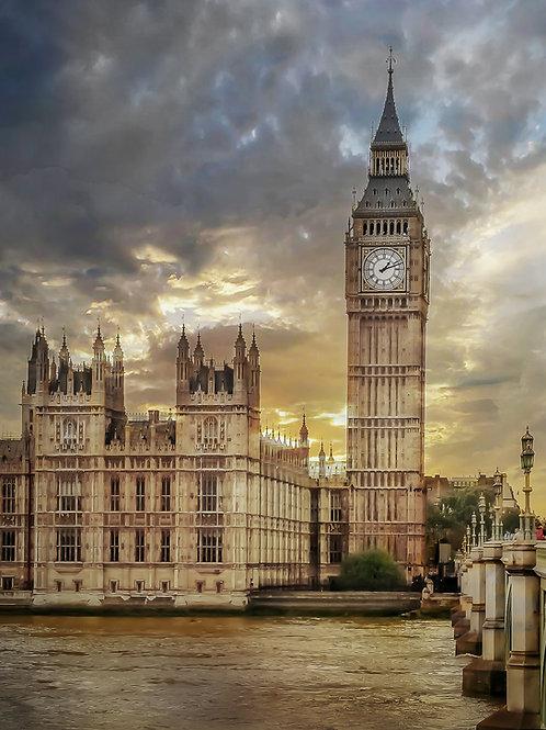 Big Ben in a honey sky