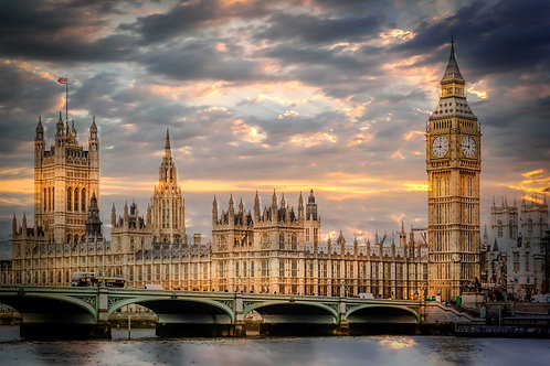 Big Ben gold sky