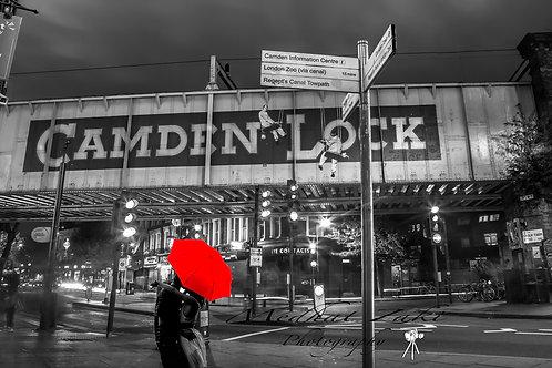 Camden Lock red umbrella