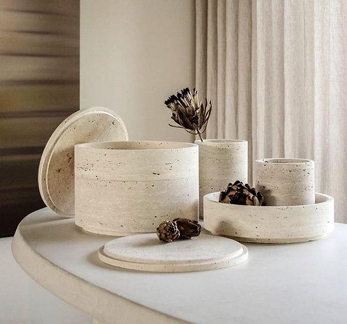 Beige Travertine Vases with Lid
