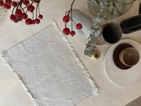 Cream Linen Placemats  - Set of 8