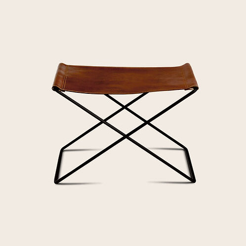 Leather/Steel Stool