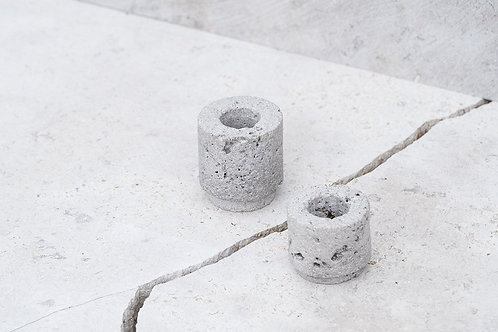 Set of 2 Stone Candle Holders