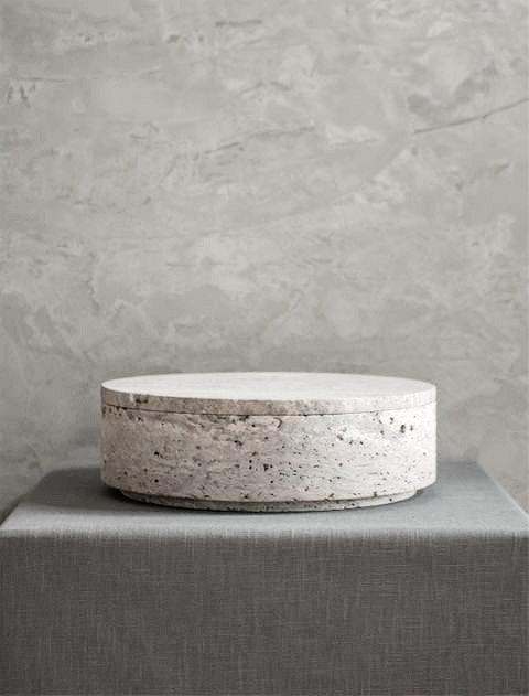 Beige Travertine Bowls with Lid