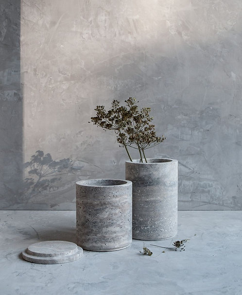 Silver Travertine Vases with Lid