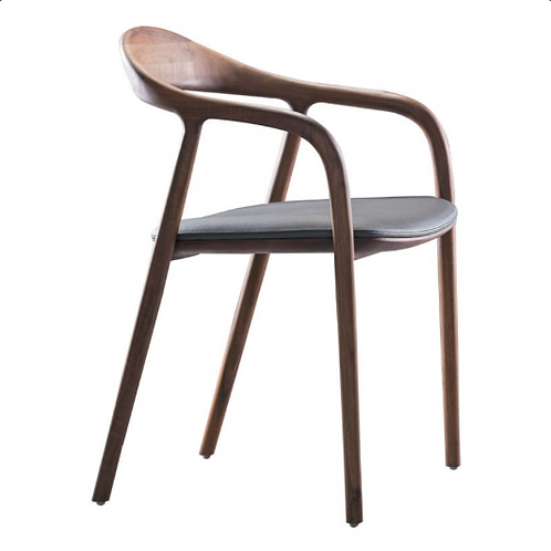 Chair Walnut - Black Leather