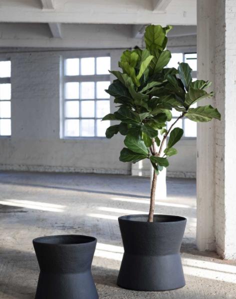 Black Papier-maché Planters