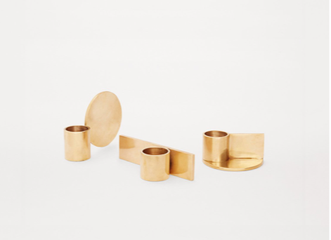 Set of 3 Brass Candle Holders