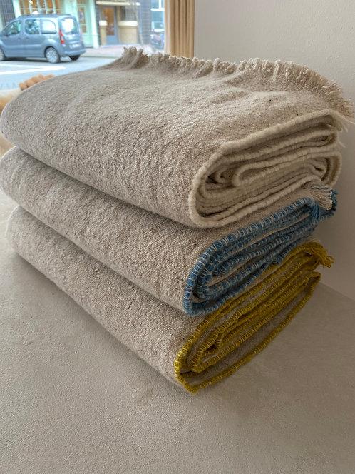 Beige Plaids Merino Wool 140x180