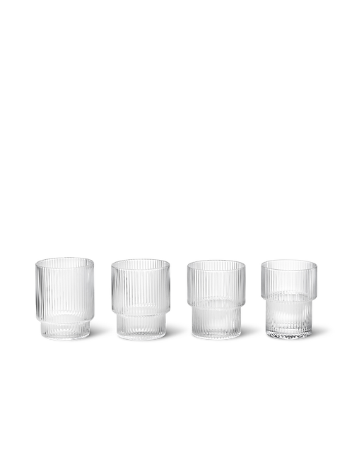 Set of 4 Stackable Ripple Glasses