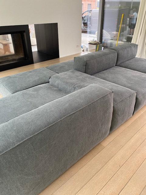 Modular Sofa - Grey/Green Thick Washed Linen