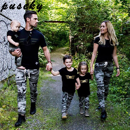 Puseky Family Shirt Sets Camouflage Fashion Short-Sleeve Army Green