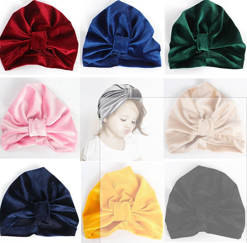 2018 Girl Baby Bow Beanie Cap Toddler Infant Velvet Solid Turban Hat Hair Access