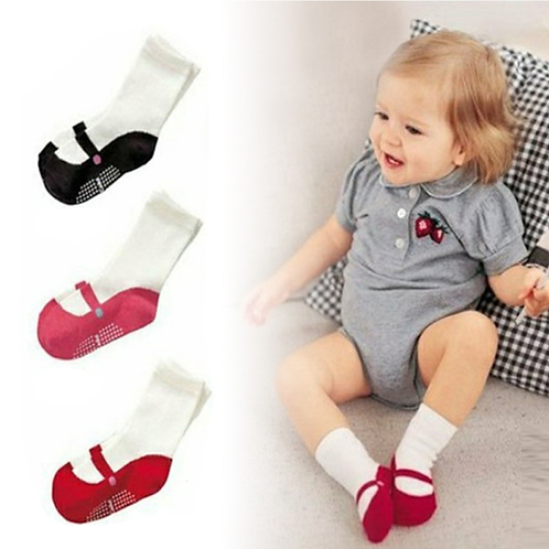 2 Pieces Baby Mid-calf Length Sock Infant Toddler Home Shoes Dancing Ballet