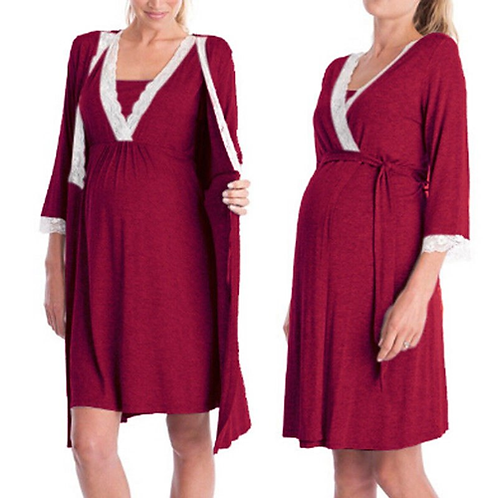 Pregnant Women Nightdress Maternity Sleepwear Feeding Chemise Sleeping Robe Dres
