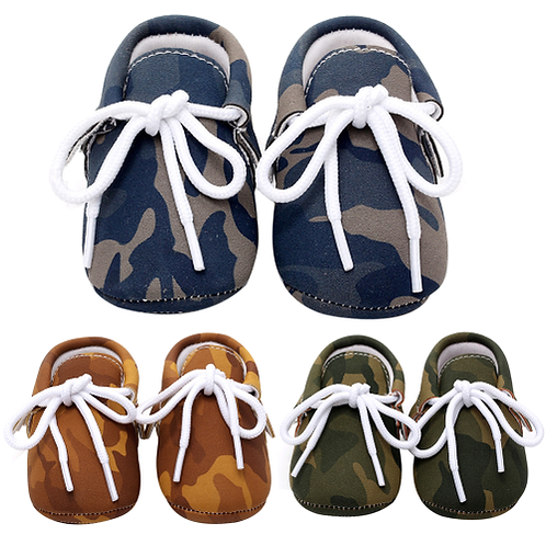 Baby Shoes PU Leather Camouflage Shoes For Girls Kids Newborn Boys Army Green