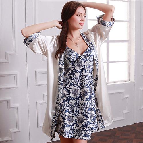 Pregnant Women Nightgown Bathrobe Vintage Floral Print New Set 2 Piece Sleep