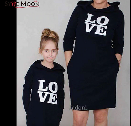Mother Daughter Sweatshirts Dresses Love Print Family Matching Clothes Outfits M