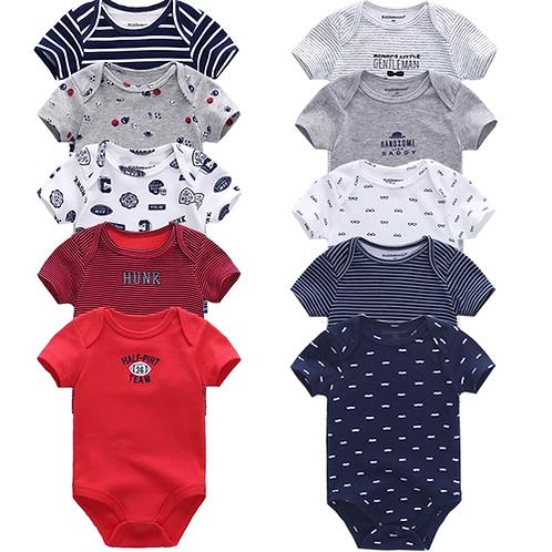 2nd 5PCS/LOT Baby Rompers 2018 Short Sleeve 100%Cotton overalls Newborn clot