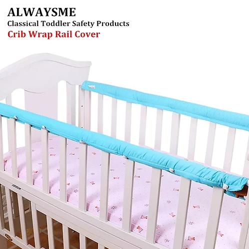 ALWAYSME 130CM Or 105CM Waterproof Reversible Crib Wrap Rail Cover Crib Rails