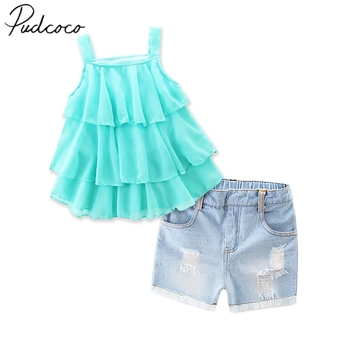2018 Brand New 2Pcs Toddler Infant Kids Girls Ruffle Tops Hot Denim Shorts Pants