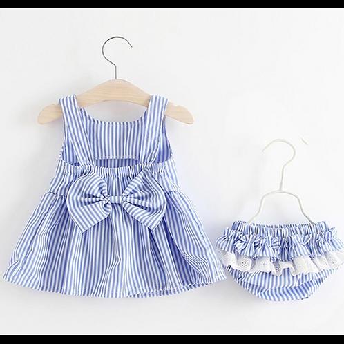 Baby Girls Newborn Dress Clothes New Cute Bowknot Striated Sleeveless Girl Dress