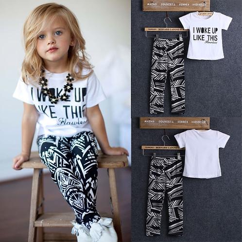 2pcs Infant Toddler Kids Girls I Woke Up Like This White Casual Tops T Shirt Pan