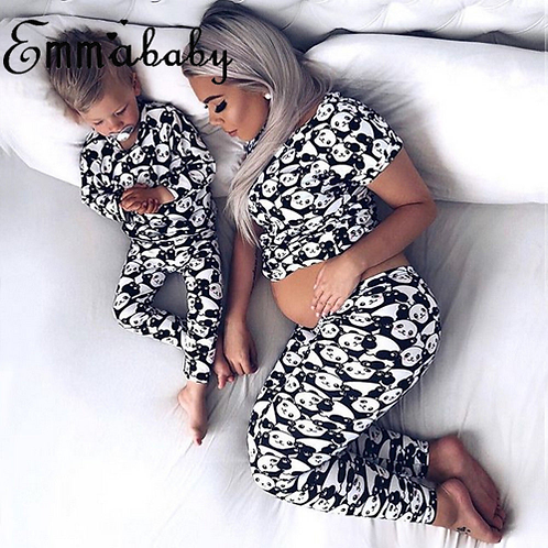2018 Brand New Family Matching Panda Print Pajamas Set Women Baby Kids Girl