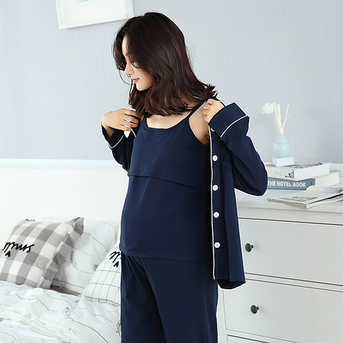 2018 Cotton Moms 3pcs Maternity sleepwear Nursing nightgown Maternity Breastfeed