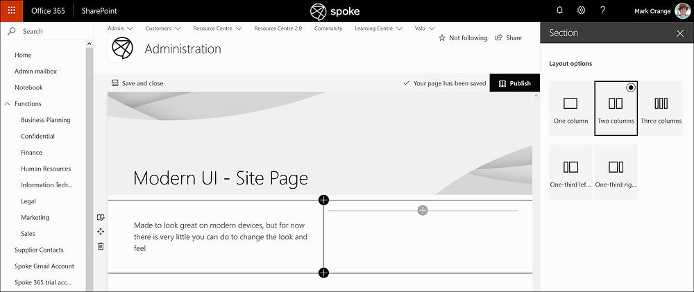 Editing a Modern UI Site Page