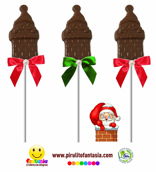 Pirulito de Chocolate Papai Noel