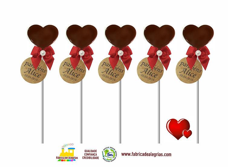 Pirulito de Chocolate Coração