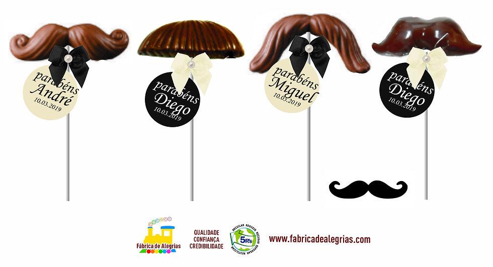 Pirulito de Chocolate Bigode Mr Mustache