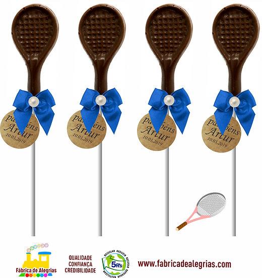 Pirulito de Chocolate Raquete de Tênis