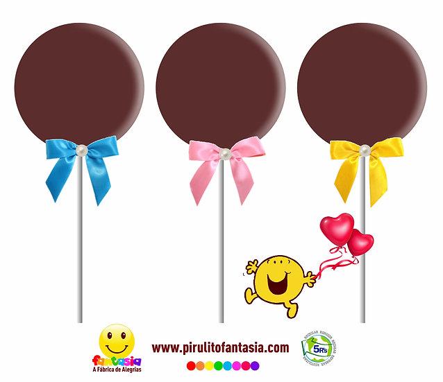 Pirulito de Chocolate Simples Redondo