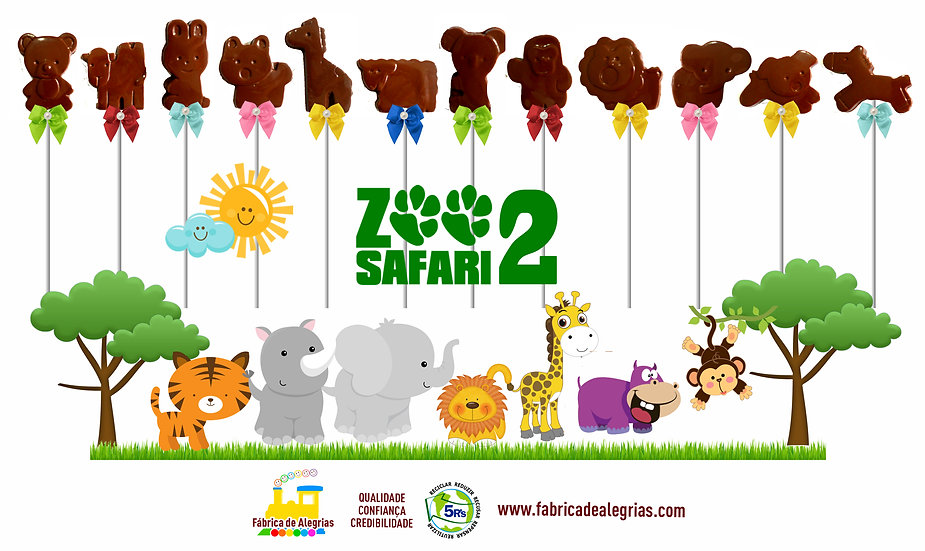 Pirulitos de Chocolate Zoo Safari Bichinhos