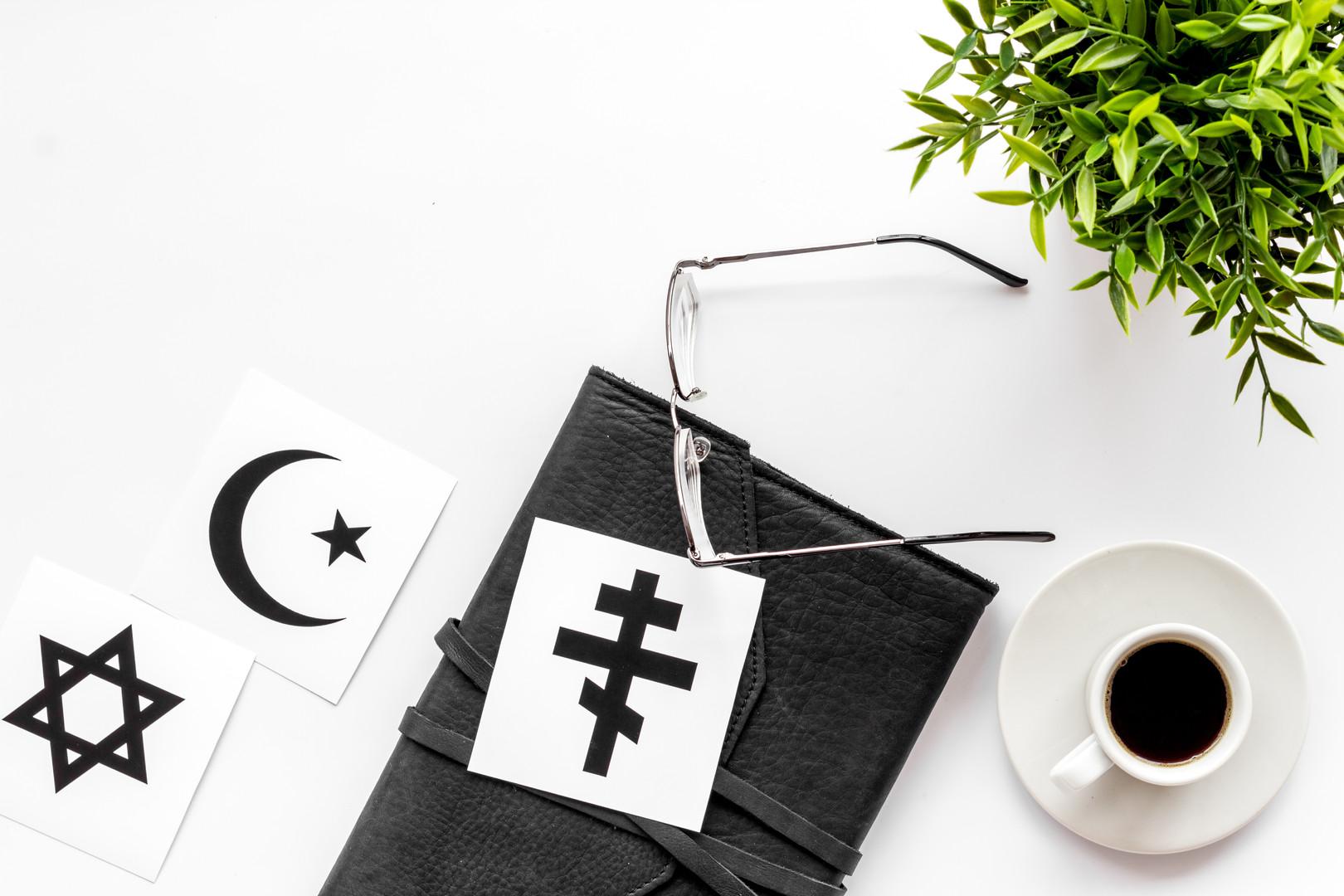 Interfaith dialogue concept. World relig