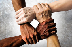 multiracial group with black african Ame