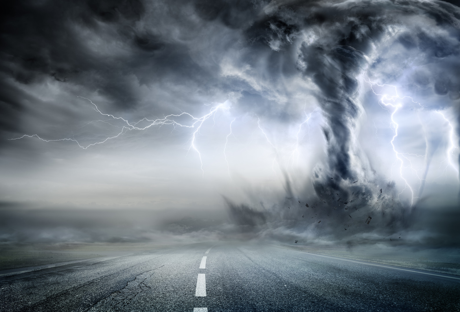 Powerful Tornado On Road In Stormy Lands