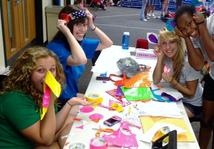 Teens create animal masks for our play at Moonlit Wings Productions Performing Arts Camp.