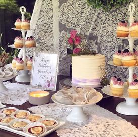 Cake, cupcakes, Macarons, and fresh mini