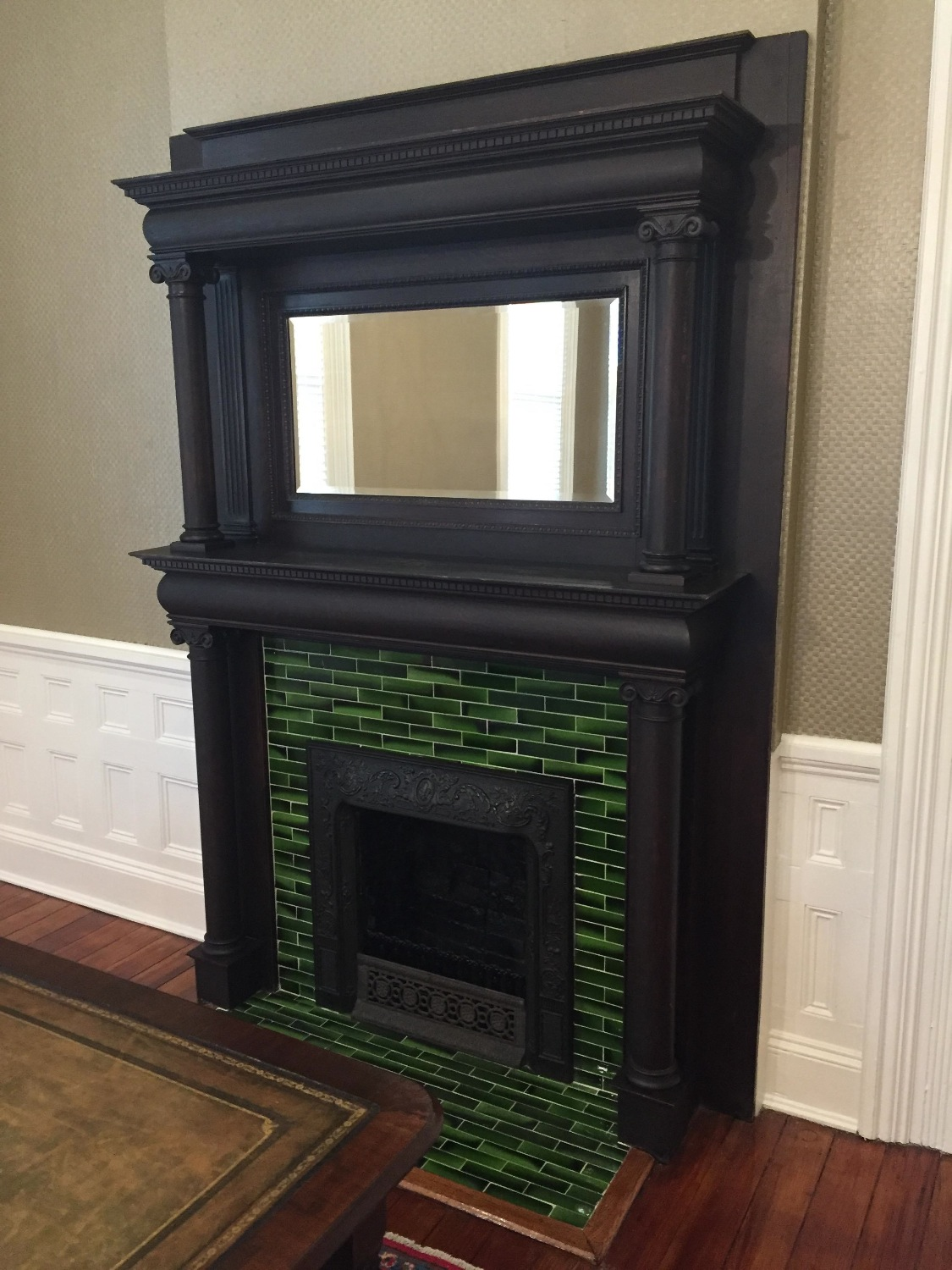 BEFORE - Oak Mantle