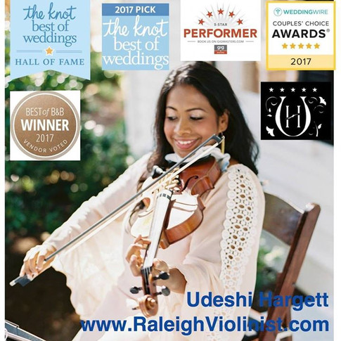 Udeshi Hargett is an award-winning violinist who was inducted The Knot Hall Of Fame in 2017