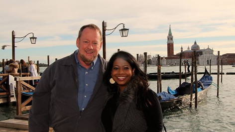 Udeshi and her husband, Mark Hargett in Venice, Italy