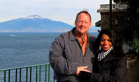 Mark and Udeshi Hargett. Naples, Italy. Mt. Vesuvius in the background