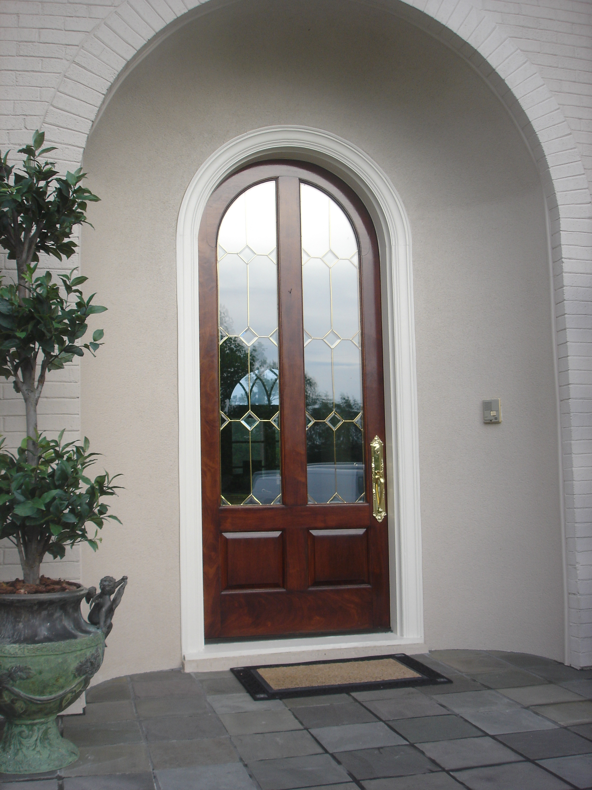 Refinished exterior wood door