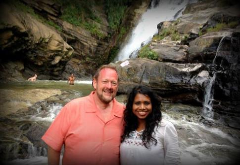 At Ravana Falls in Sri Lanka